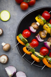 Vegetarian grill skewers on bowl - LVF07189