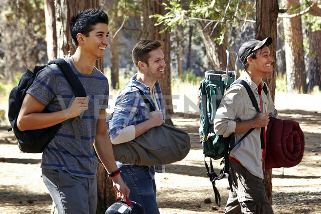 Three young male campers walking through forest, Los Angeles, California, USA - ISF15892