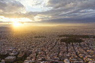 Greece, Attica, Athens, View from Mount Lycabettus over city at sunset - MAMF00154