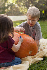 Brother and sister drawing on pumpkin - ISF16436
