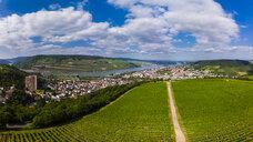 Germany, Rhineland-Palatinate, Aerial view of Weiler am Rhein, Nahe river and Bingen am Rhein - AMF05810