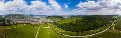 Germany, Rhineland-Palatinate, Aerial view of Weiler am Rhein, Nahe river and Bingen am Rhein - AMF05813