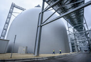 Workers walking through biomass facility, low angle view - CUF38932
