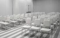 White chairs in empty auditorium - CUF39576