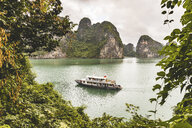 Vietnam, Ha Long bay, with limestone islands and excursion boat - WPEF00643
