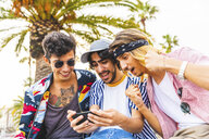 Portrait of three excited friends looking at cell phone - WPEF00655