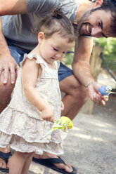Father and baby daughter holding budgerigar parakeets at zoo - ISF16892