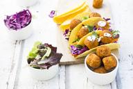Tacos with mixed salad, sweet patato Falafel, carrot, red cabbage, yoghurt sauce, parsley and black sesame - LVF07233