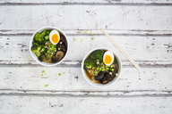 Two bowls of Ramen soup with egg, broccoli, noodles, shitake mushroom and spring onions - LVF07242