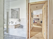 Interior of open plan kitchen and bathroom of a holiday home - CVF00967