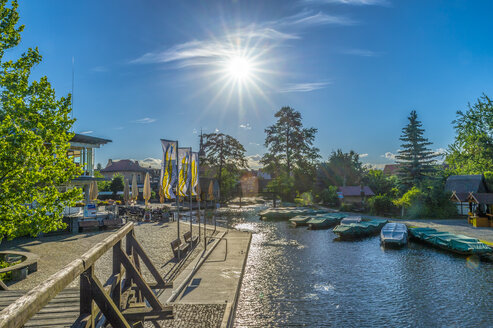 Germany, Luebbenau, view to the harbour at backlight - FRF00697