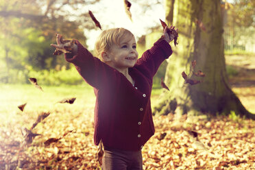 Toddler throwing autumn leaves - CUF40419