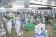 Production lines in busy food factory, blurred motion - CUF40947