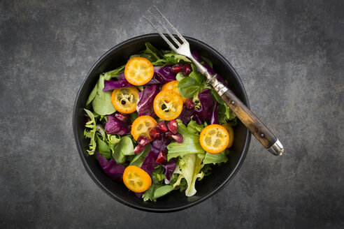Bowl of mixed green salad with red cabbage, kumquat and pomegranate seeds - LVF07259