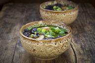 Japanese miso soup with sugar peas, shitake mushrooms, tofu and mung sprouts - LVF07274