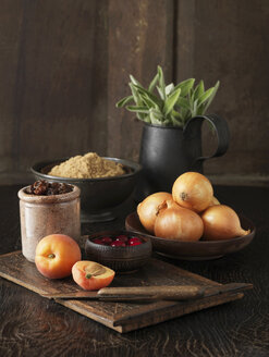 Ingredients to make stuffing for free range double stuffed Oakham chicken. Apricots, cranberries, brown onions, demerara sugar and fresh sage - CUF41159