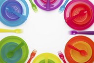 Colourful plastic plates, cups, bowls, spoons and forks - CUF41183