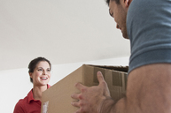Young couple with cardboard box - CUF41483
