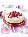 Meringue layer cake with raspberries and macadamia nuts - CUF41732