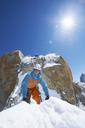 Two men mountain climbing, Chamonix, France - CUF42245