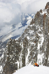 People camping in mountains, Chamonix, France - CUF42386