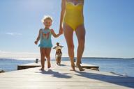 Family walking on pier, Utvalnas, Gavle, Sweden - CUF42682