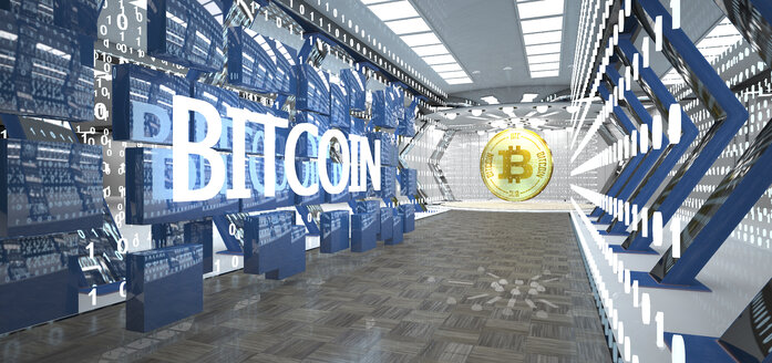 Golden bitcoin in a futuristic room with blocks, bits and the word bitcoin - AL00734