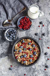 Bowl of muesli with blueberries and pomegranate seed - SARF03843