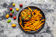 Homemade sweet potato fries and bowl of tomato basil dip - SARF03846