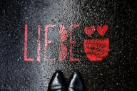 asphalt, graffiti, red,, Love, Berlin, Germany - NGF00453