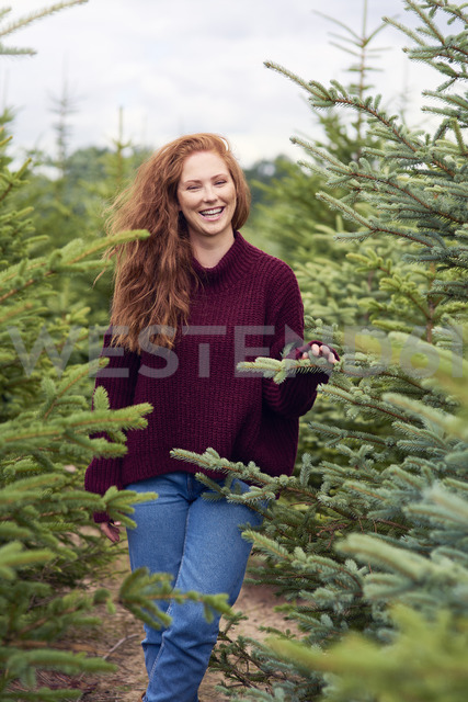 Portrait of laughing redheaded young woman in the woods - ABIF00709 - gpointstudio/Westend61