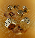 Golden Bitcoins and dice - CAIF21220