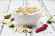 Bowl of popcorn flavoured with chili and lime - LVF07314