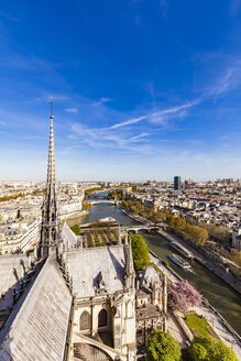 France, Paris, View over the city from Notre Dame cathedral - WD04742