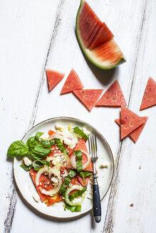 Watermelon salad with onions, feta and basil - SBDF03675