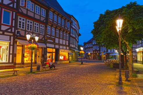 Germany, Lower Saxony, Einbeck, Old town at blue hour - KLRF00629