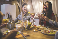 Family and friends enjoying dinner, eating, drinking, having fun - AWF00101