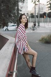 Portrait of woman wearing striped shirt - AFVF00857