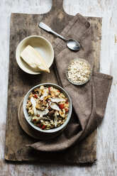 Bowl of porridge with bell pepper, champignon and parmesan - EVGF03376