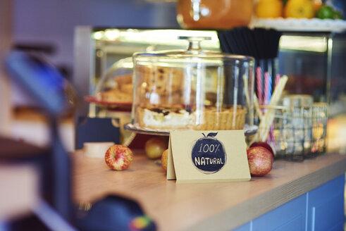 Street cafe, sign healthy snack, 100 percent natural - ABIF00735