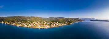 Greece, Aegean Sea, Pagasetic Gulf, Peninsula Pelion, Aerial view of Milina in the evening - AMF05884