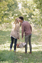 Apple orchard. Couple carrying a basket of apples, kissing. - MINF02283