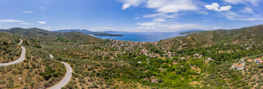 Greece, Aegean Sea, Aerial view of Bay of Milina - AMF05888