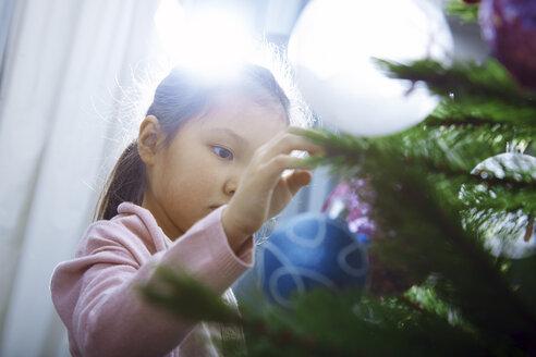 Little girl decorating Christmas tree - AZF00038