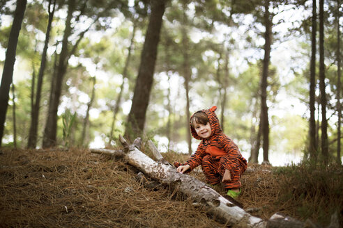 Portrait of male toddler wearing tiger suit playing in woods - ISF17170