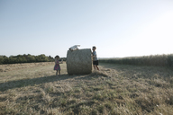 Two children playing with cat on a harvested field - KMKF00424