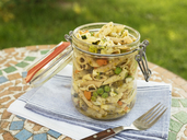 Jar with vegan pasta salad - HAWF01012
