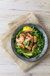 Shrimps with lamb's lettuce on plate - GIOF03994