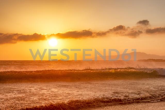 Spain, Andalucia, Tarifa, waves at sunset - SMAF01090