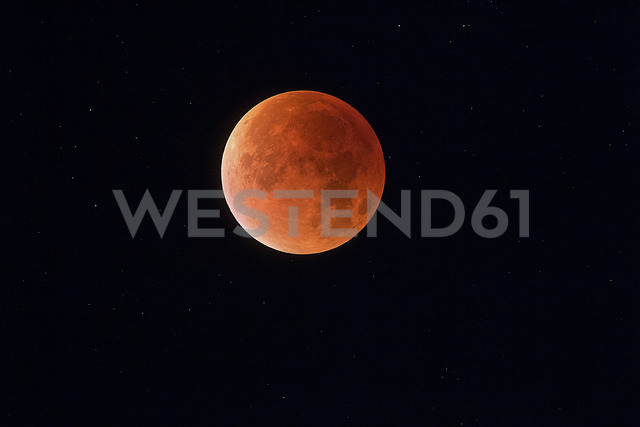 Total lunar eclipse with stars in background, blood moon - THGF00047 - Thomas Grohmann/Westend61